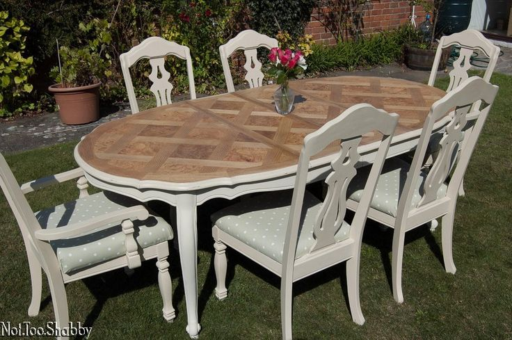 Fresh Extending dining table & Six chairs recovered in Clarke & Clarke Sage Meadow fabric