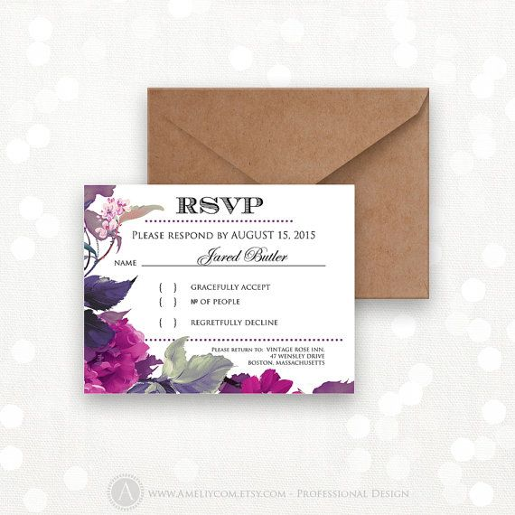 Printable RSVP Card Instant Download Lilac & Purple Reply Card Digital EDITABLE Response Cards for Wedding, Birthday, Shower + Back PostCard