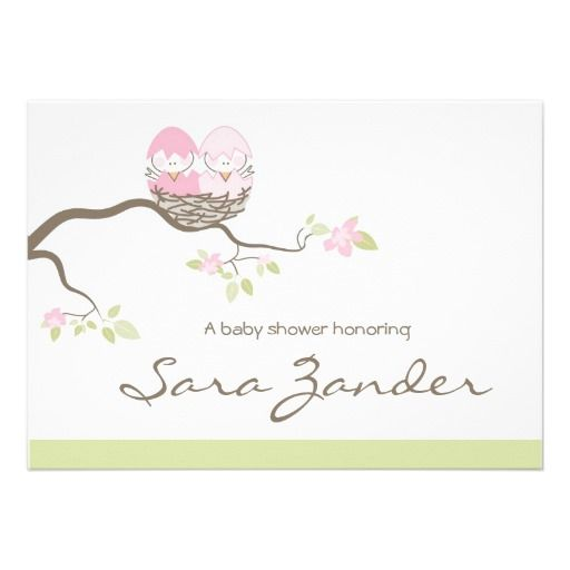 20 best bird baby shower invitations images on pinterest shower baby shower invitation twin pink baby birds filmwisefo Image collections