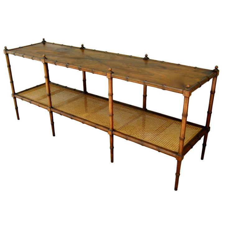 Faux Bamboo Console With Cane Undershelf