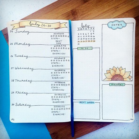 Weekly overview - really like this one | 25 Satisfying Bullet Journal Layouts That'll Soothe Your Soul