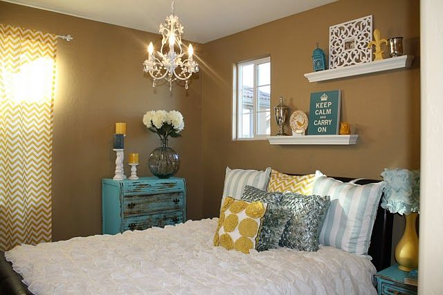 Cute bedroom. My faves are the chandelier, ruffle lampshade, shelves and curtains