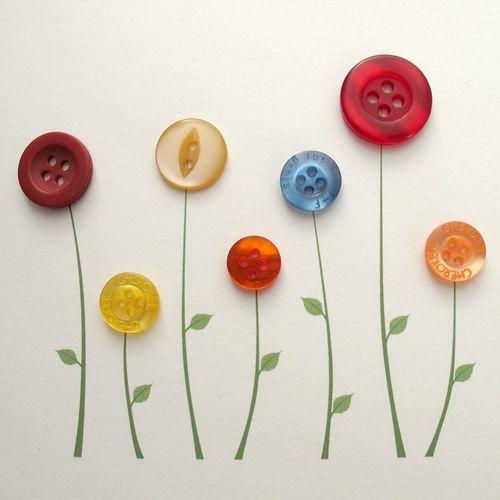 Button Notecard - Flowers