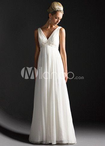 111 99 White Deep V Neck Empire Waist Satin Chiffon Wedding Dress Empire Waist Wedding Dresses Wedding Dresses Wedding Apparel Milanoo com - Stylehive