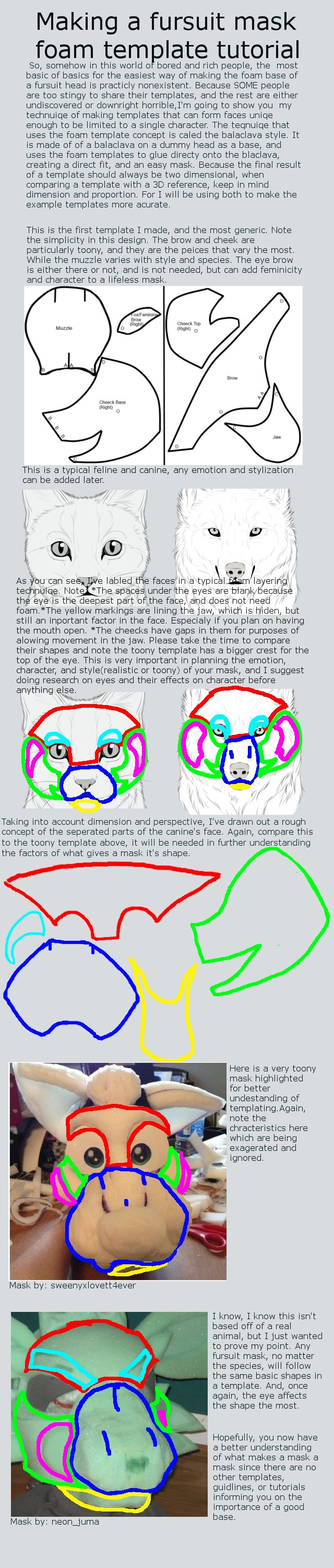 Making your own fursuit mask template tutorial by IAmNotAPegasus on deviantART
