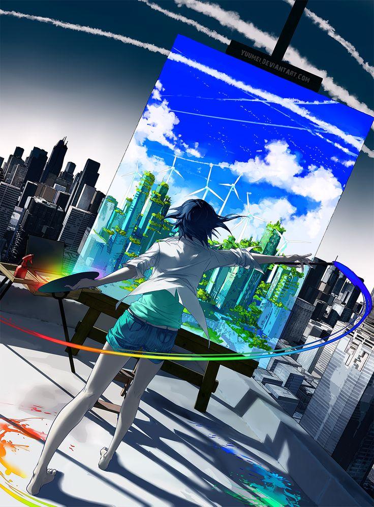 Anime...Girl...Paint...Illustration...Color...Simole clothes...Back hair...City