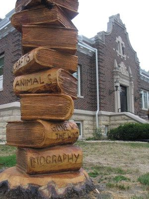 Books, Chainsaw sculpture by Brian Parr