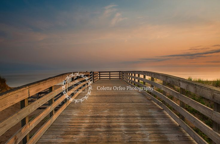 Boardwalk Sunrise Photography Backdrop. Boardwalk looking out over the ocean at Cavendish Beach, PEI. To order backdrop visit www.backdropscanada.ca