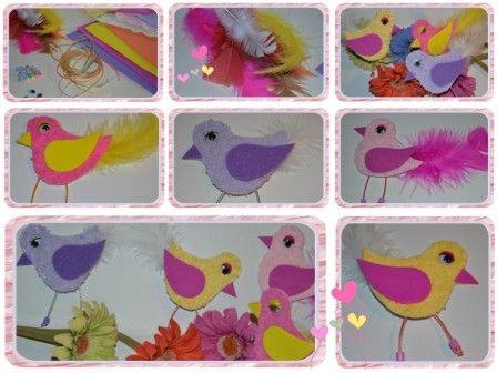 Bricolage printemps oiseaux avec gabarit activit s - Activite manuelle avec du papier ...