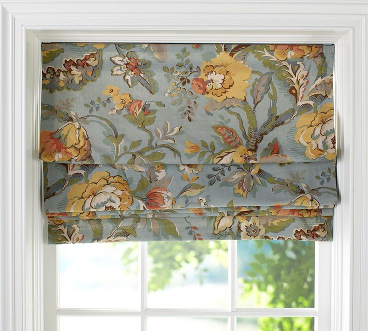 Pottery Barn Cordless Roman Shade In Vanessa Blue Floral