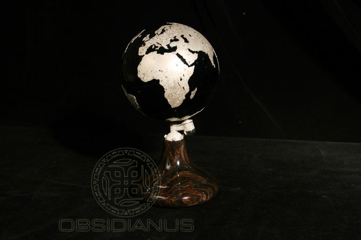 Obsidian Globe  Hand Made / Semiprecious Natural Obsidian Stone / Black Color - Silver - Diamonds
