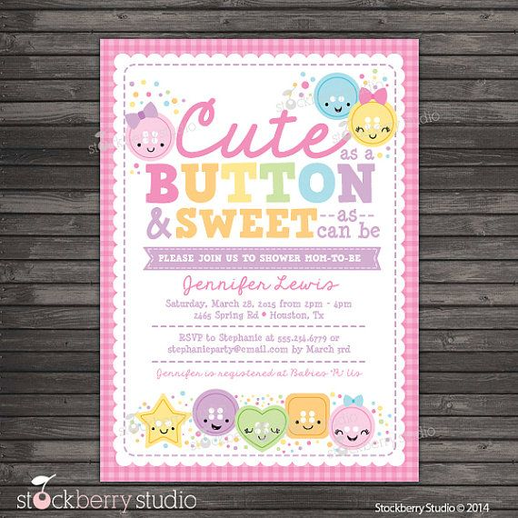 Exceptional Cute As A Button Baby Shower Invitation Printable   Girl Baby Shower Invites    Pink Baby Shower Invitation   Baby Invitations