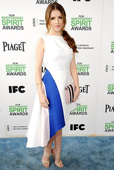 Anna kendrik wore a white dior dress with blue detail at independent spirit awards 2014
