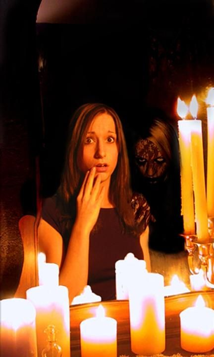"Bloody Mary - It is said that if you turn off the light, stand in front of a mirror, and say ""Bloody Mary!"" three times while spinning in a circle, she will appear in the mirror behind you and promptly kill you.  ...  I remember scaring a whole line of children with this in grade school while they were in the bathroom. They all ran down the hallway with their pants around their ankles back to class in fear. Oops."