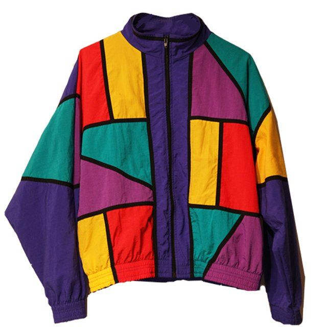 Vintage 80's Windbreaker, made by The La Costa Spa (California). Jacket features bold geometric pattern on front side and sleeves, in red/ green/ purple/ gold. Primary color of jacket is indigo. Hip has two pockets, with standard high neck closure and elastic bands at cuffs and waist. Reverse side is blank. 100% Nylon. Size Medium, fits true to size. Good condition. Shipping included in price.