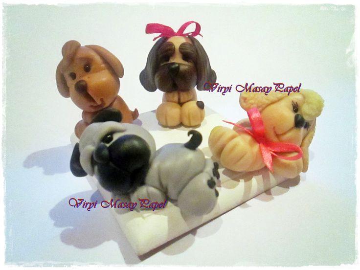 Cachorritos Modelados en Masa Flexible Porcelana Fria