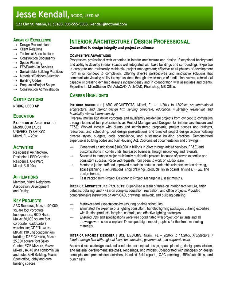 architecture resume sample - Google Search