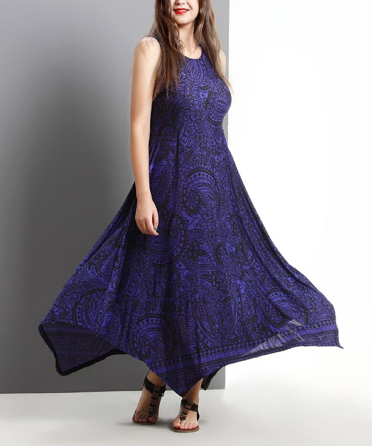 Another great find on #zulily! Blue Paisley Sleeveless Handkerchief Maxi Dress - Plus by Reborn Collection #zulilyfinds