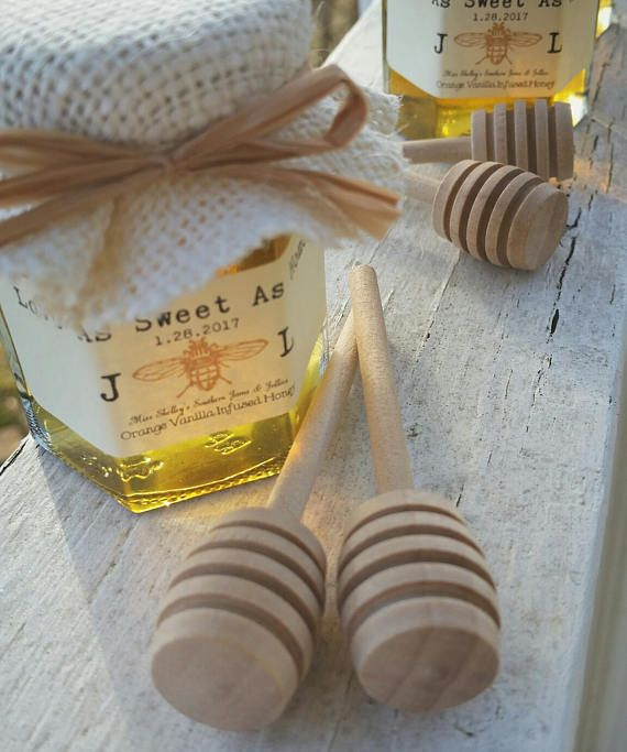 Honey Favors - Mini Honey Dippers - Rustic Bridal Shower Favors - 150 (2oz) Honey Favors - Personalized Wedding Favors - Baby Shower Favors