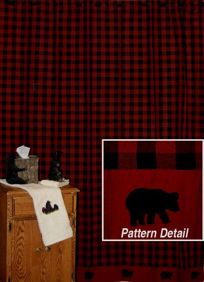 bear shower curtain in red | Bear Plaid Rustic Shower Curtains