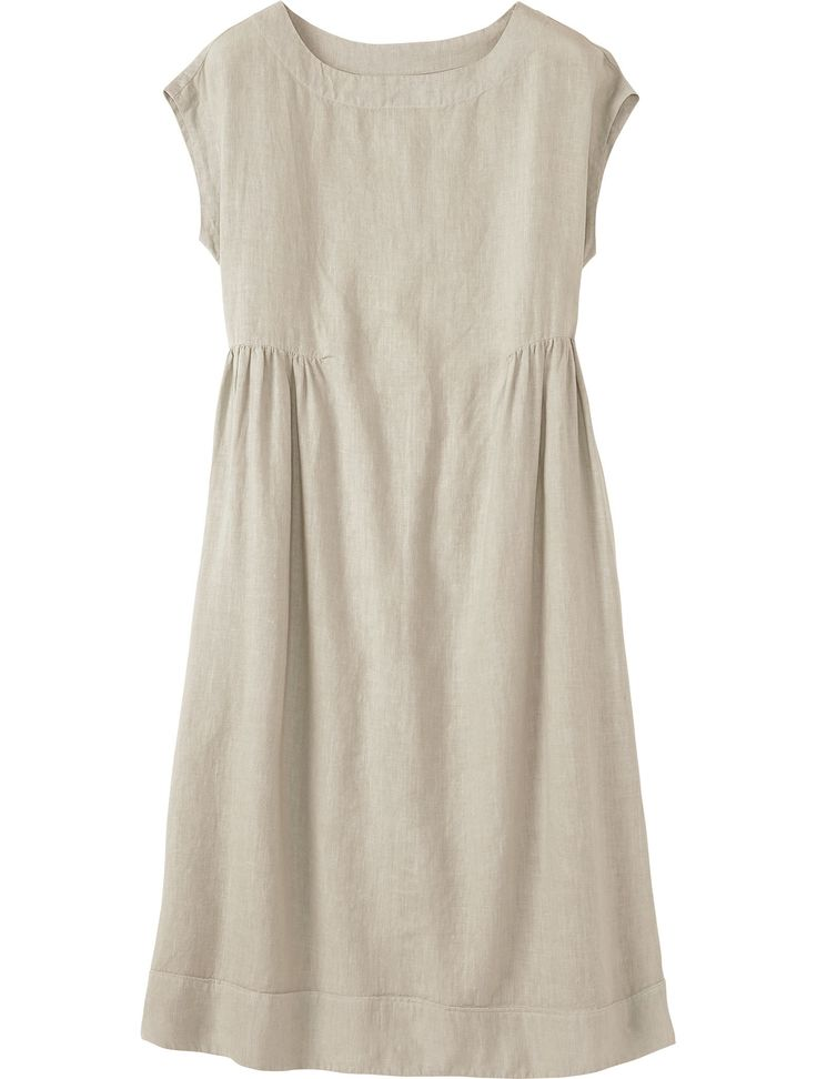 Softly shaped midi dress with grown-on cap sleeves in a supple, washed, garment-dyed linen. Softly scooped neckline. Darts below bust with gentle gathers. Two pockets.