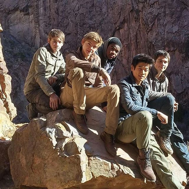 #TheScorchTrials cast Jacob Loftland (@jacob_lofland) Thomas Brodie-Sangster, Dexter Darden (@dexterdarden) Ki Hong Lee (@kihonglee) and Dylan O'Brien.WHY CANT MY SQUAD LOOK LIKE THIS •|•