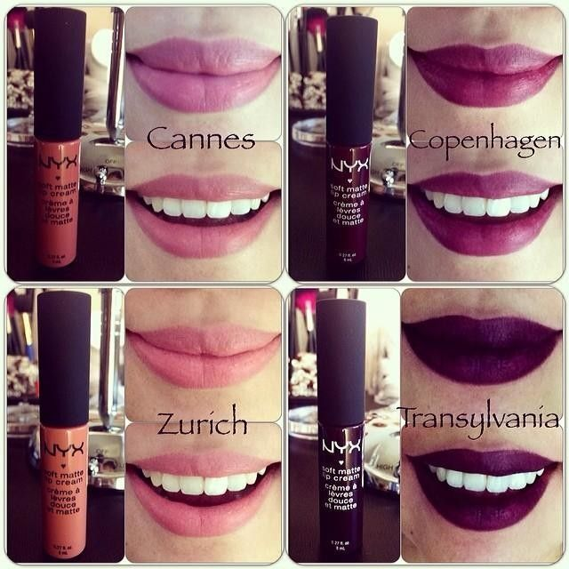 Here are the swatches for the NYX Soft Matte Lip Cream in Cannes, Zurich, Copenhagen and Transylvania #nyxcosmetics