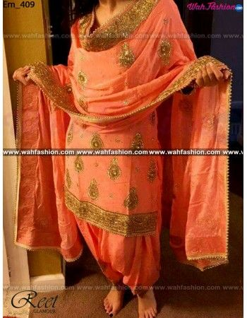 Give yourself a stylish & designer look with this Marvellous Peach Embroidered Punjabi Suit. Embellished with Embroidery work and lace work. Available with matching bottom & Net dupatta. It will make you noticable in special gathering. You can design this suit in any color combination or on any fabric. Just whatsapp us for more details. For more details whatsapp us: +919915178418
