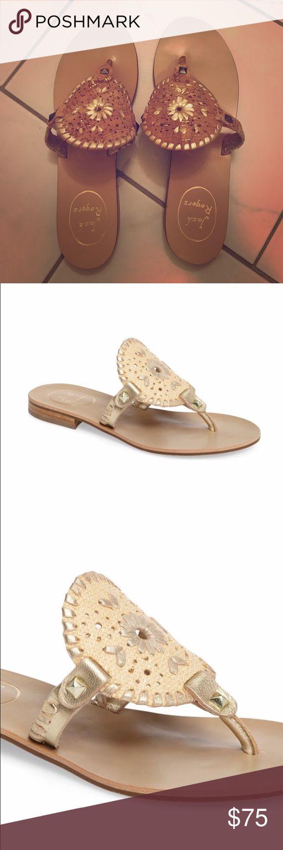 Jack Rodgers Georgica Sandals Natural/ Gold Fabric NEVER WORN! Jack Rodgers Georgica Sandal in natural/ gold fabric. Jack Rogers Shoes Sandals
