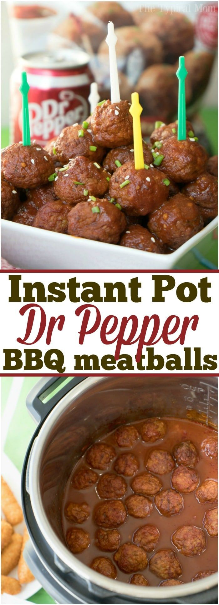 The perfect Instant Pot Dr Pepper BBQ Meatballs are here for your next big party or the big game!