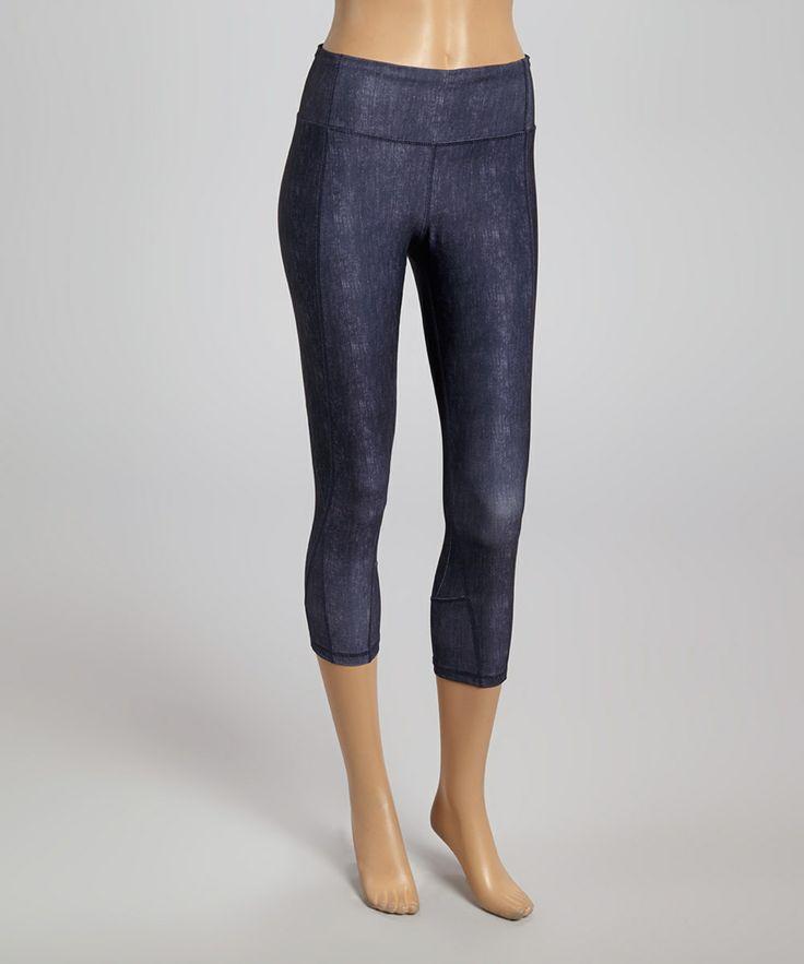 Blue Denim-Look Yoga Capri Pants