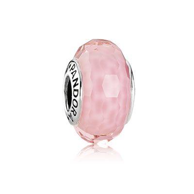 Charm en argent et verre de Murano rose pale faceté / PANDORA
