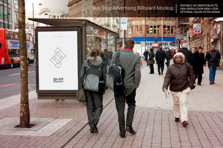 Busstop Ad Mockup Psd Billboard Mockup Bus Advertising Bus Stop Advertising