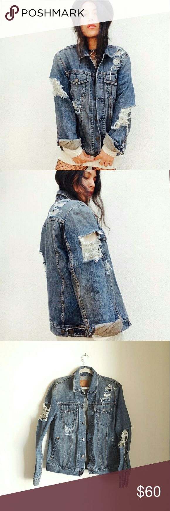 Vtg Y2K Gap grunge distressed jean denim bomber Vintage early 2000, Y2K, Gap denim bomber jacket, size M. 100% cotton.  I distressed with lots of love. It has been already cleaned and it would look cooler and cooler with each wash ?  In great vintage condition. Distressing, ripping and holes were hand made for a cool grunge look. One of a kind. Staple piece for any closet.  No trades Cool discounts on bundles    Tags Vintage retro 2000 millennium y2k gap jean denim bomber coat jacket goth…