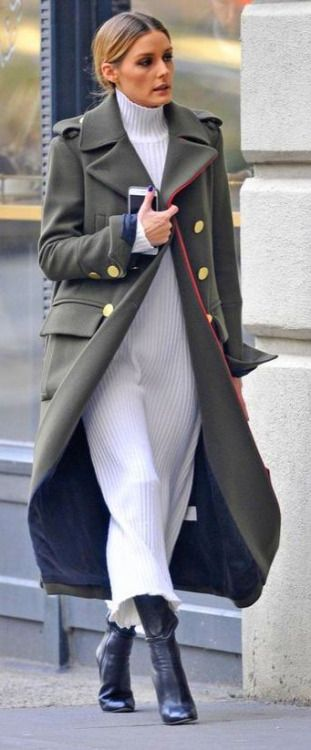 Olivia Palermo's Military style Coat, White Sweater Dress & boots.