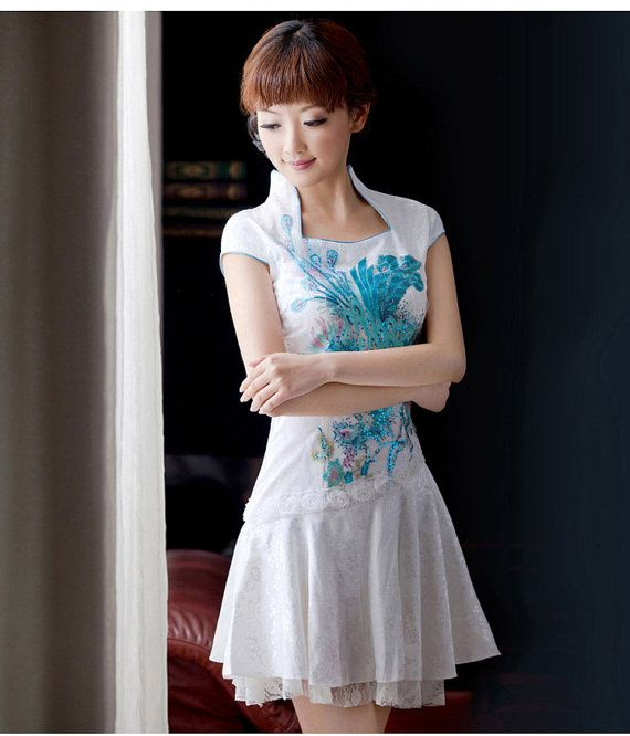 Traditional Chinese Clothing - Elegant Lace Cheongsam Qipao Dress with Phoenix Embroidery Blue / Green