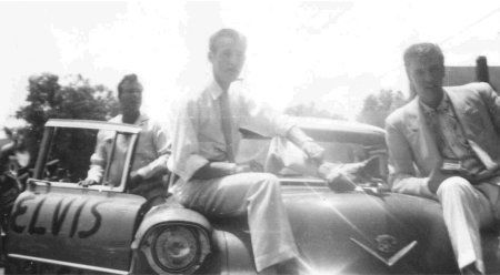 May 26, 1955 Jimmie Rodgers Snow,  Elvis and Bill at Meridian Folk Festival parade, Meridian, MS.