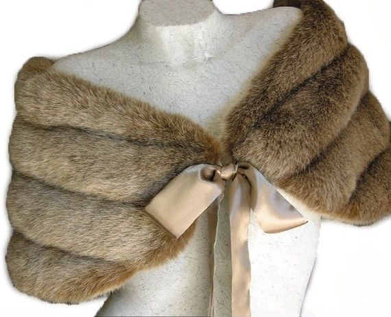 Fox Light  Brown / Champagne  Faux Mink Fur Bidal Wrap Shawl Capelet  Need to do faux, but really like fur for something over my dress to keep warm later in day at wedding.