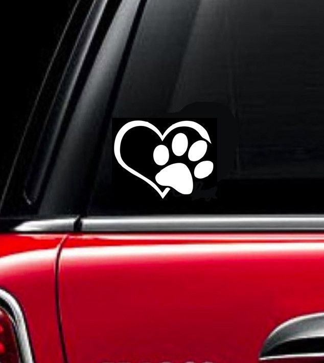 Paw print with heart car window decal