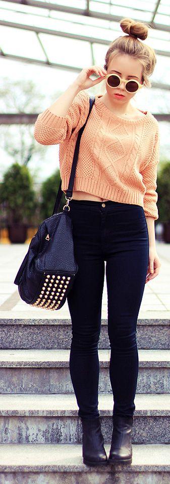 Light Salmon Crop Textured Sweater, Dark Skinnies, Black Purse w/ Studs, Sunglasses, High Bun