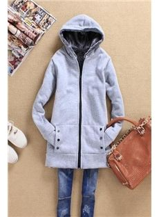 New Arrival Autumn Lady's Leisure Thicken Hooded Long Trench Coat
