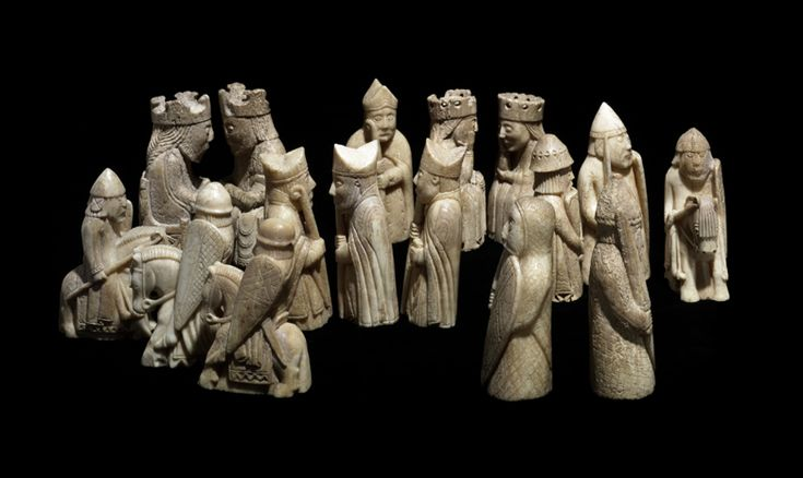 """""""Lewis chessmen"""" carved from walrus tusks and whale teeth. Made ca. AD1150-1175, found on Isle of Lewis (Scotland)"""