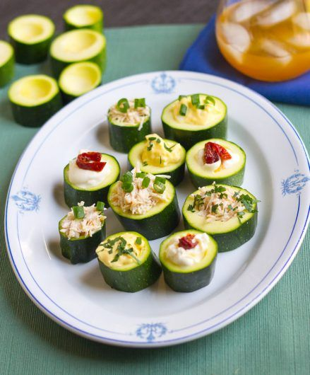 zucchini cups filled, on platter vertical 7-25-16