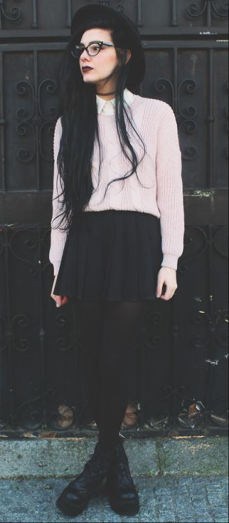 Grunge Style Drop Shoulder Rib Trim Cable Knit Sweater $31.99  http://LuckyMelli.com