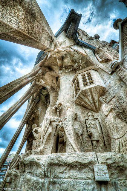 La Sagrada Familia Exterior Sculpture in Barcelona, Spain by briancparks, via Flickr