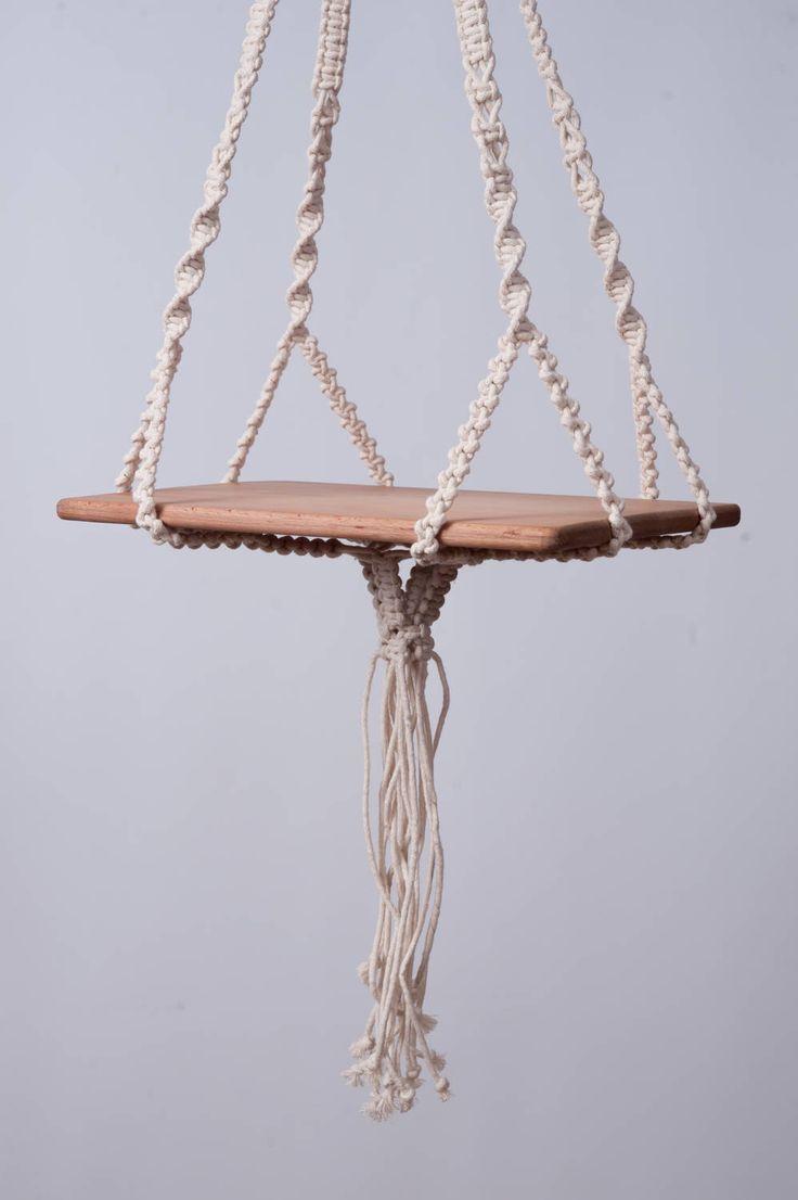Macrame hanging table modern plant hanger, hanging shelf, 5 mm cotton Cord, boho shower gift