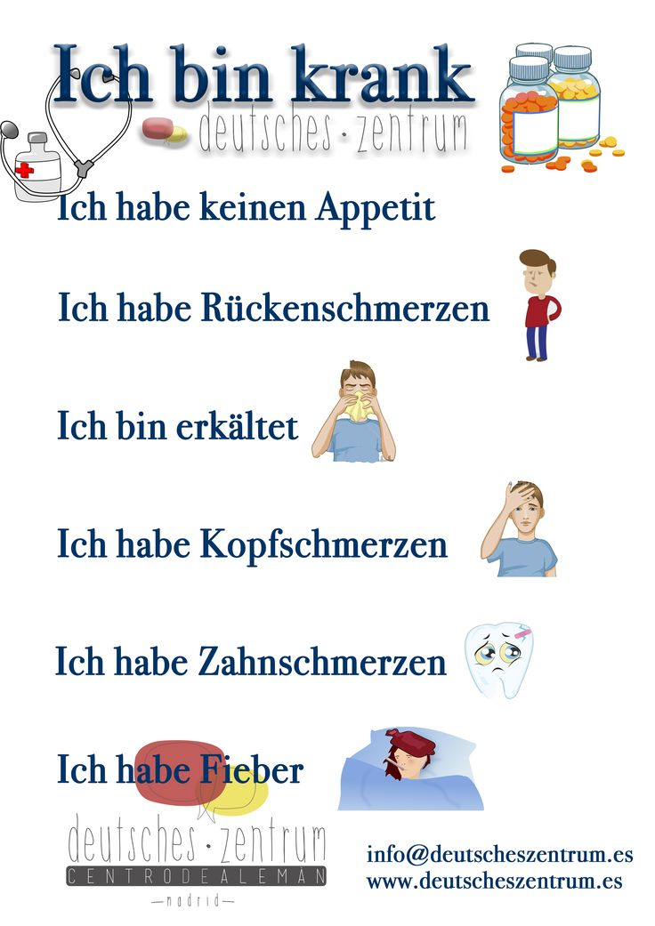 Ich bin krank. Deutsch Alemán Wortschatz Vocabulario DAF
