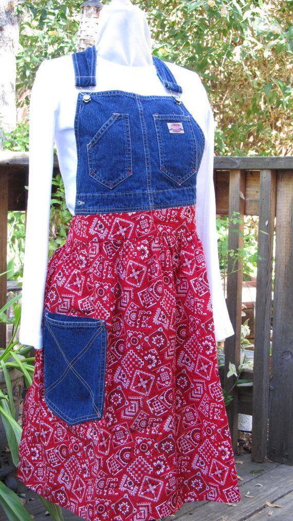 Repurposed denim apron