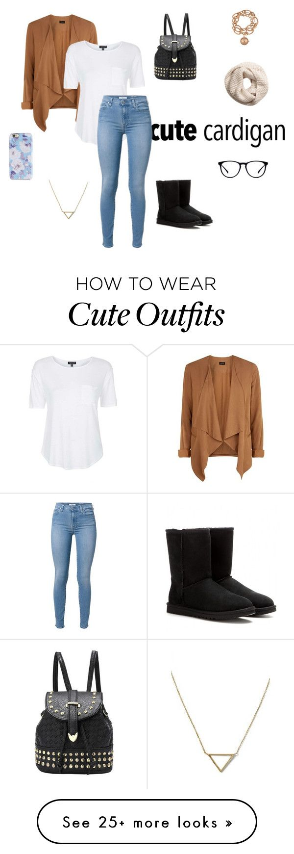 """Cute cardigan outfit!"" by melodie-brisebois on Polyvore featuring Topshop, UGG Australia, Isaac Mizrahi, H&M, Louis Arden and Banana Republic"