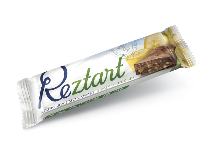 Reztart Banan & Choklad är ett näringsrikt mellanmål med lågt GI.  Produkterna är ett resultat av 10 års svensk forskning, och är baserad på ett svenskt patent.  Reztart är baserade på naturliga råvaror och innehåller en unik sammansättning av tre proteinkällor, nyttiga fibrer, långsamma kolhydrater & essentiella fettsyror.